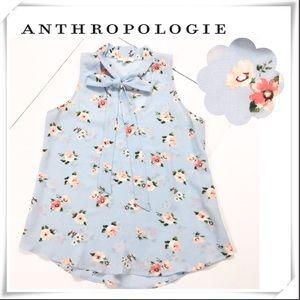 Anthropologie E Hanger M Floral Bow Neck Blouse